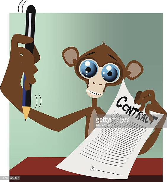 Monkey with contract and pen