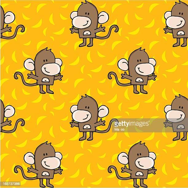 monkeys and bananas seamless pattern
