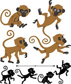Cartoon monkey in 4 different poses. Below are silhouette versions of the same poses.