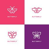 Four mono line butterfly icon set. Beauty salon, spa center, cosmetics design concept.