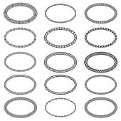 Decoration elements patterns in big pack. Mega set of 15 the most popular ellipse frames. Monochromatic ethnic oval borders in huge collection. Isolated on white background. Vector illustration