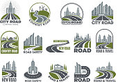 Monochrome big set of logotypes template with asphalt roads, expressway or highway. Vector road and travel, expressway and speedway illustration