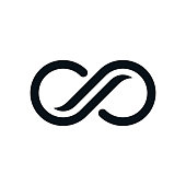 Infinity symbol on white background. Lap streaked curvy letters view.