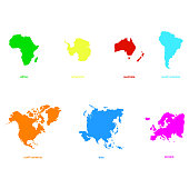 monochrome icons with world continents for your design