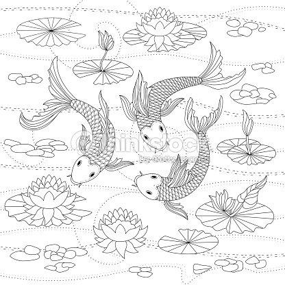 Monocromo Ilustración De La Página Para Colorear Con Peces Koi ...