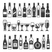 Monochrome illustrations of black pictures of alcoholic bottles. Vector for icon or label design. Alcohol bottle menu, drink cocktail glass