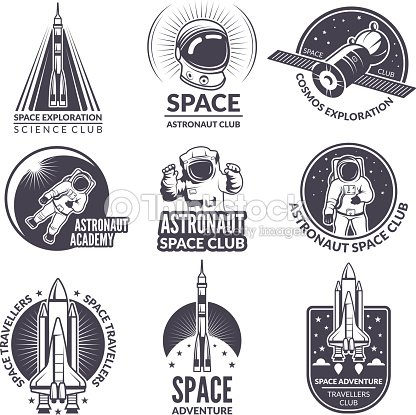 Monochrome Illustrations Of Space Shuttle And Astronauts For Labels
