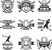 Monochrome labels or emblem for baseball club. Vector badges isolate on white. Baseball club icon, illustration of championship label