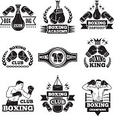 Monochrome labels set for boxing championship. Illustration of gloves and boxer. Emblem label for boxing club or competition vector