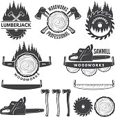 Monochrome labels set with lumberjack and pictures for wood industry. Vector lumberjack icon, industry carpentry and woodwork illustration