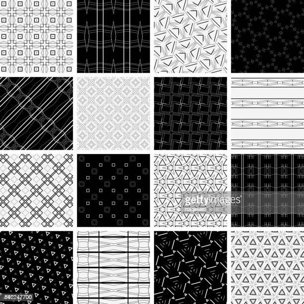 Monochrome Line textured Seamless Pattern Collection
