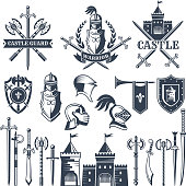 Monochrome pictures and badges of medieval knight theme. Illustrations of helmets, swords. Vector shield ancient for armor military