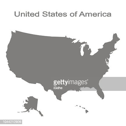 monochrome set with map of united states of america : Vector Art