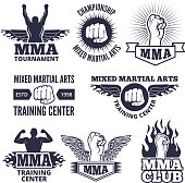 Monochrome sport labels for mma fighters. Vector boxing fight emblem, championship icon illustration