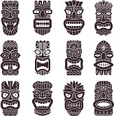 Monochrome vector illustrations set of tribal god tiki. Black white tahitian totem, idol god hawaiian tiki with teeth and mouth