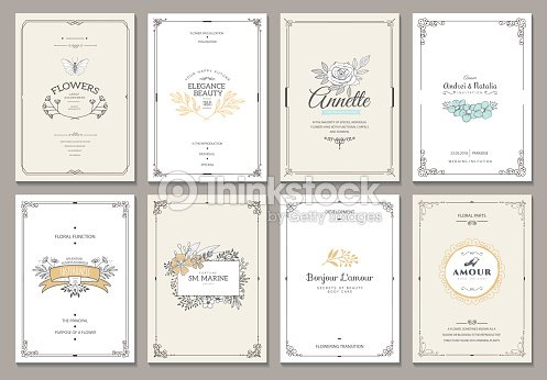 Monogram creative cards template : stock vector