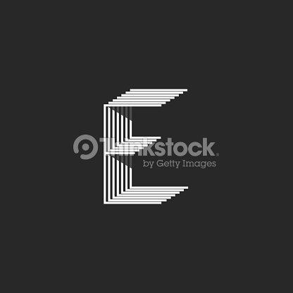 40341413e3 Monograma, letra E, blanco y negro que marcan muchas líneas finas  paralelas, elemento de diseño de tipografía moderna creativa forma  geométricas isométricas ...