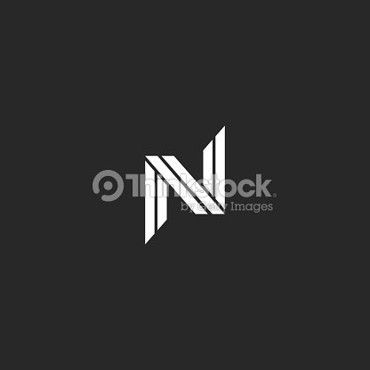 Monogram Letter N Minimal Design Creative Black And White