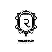 Elegant monogram design template with letter R and crown. Vector illustration.