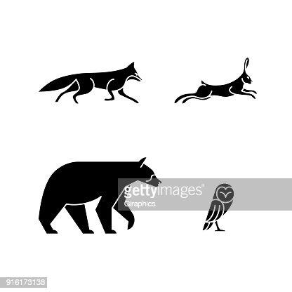 Monoline Animals : stock vector