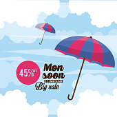 Monsoon big sales and discounts icon vector illustration graphic design