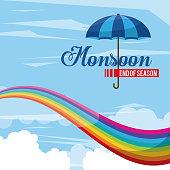 Monsoon end of season icon vector illustration graphic design