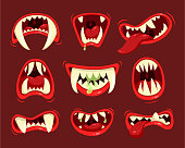 Monster angry and hungry mouth with teeth. Open mouth of large, ugly, and frightening imaginary creature. Vector illustration
