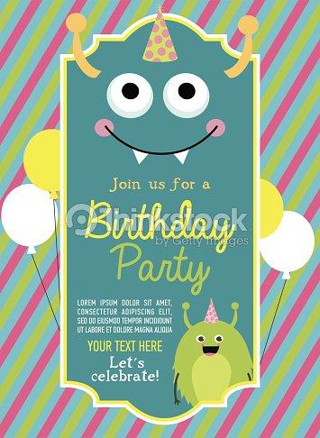 monster birthday party invitation card vector art thinkstock