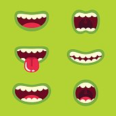 Funny green monster mouth set with different cartoon expressions. Smile with teeth, sticking out tongue, screaming. Vector illustration.