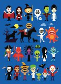 Monsters Mash Halloween Cartoon Characters including Vampires, Witch, Ghosts, Frankenstein & his bride, Headless Knight, Mummy, Monster, Pirate, Devil, Medusa, Alien, Woman Ghost, Zombie, Grim Reaper,