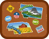 Montana, Nebraska travel stickers with scenic attractions and retro text. State outline shapes. State abbreviations and tour USA stickers. Vintage suitcase background