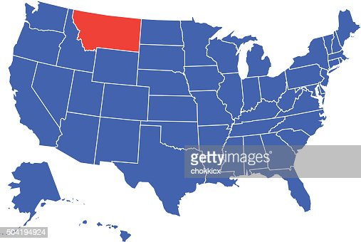 Detailed Map Of Montana State Vector Art Getty Images - Montana on map of usa