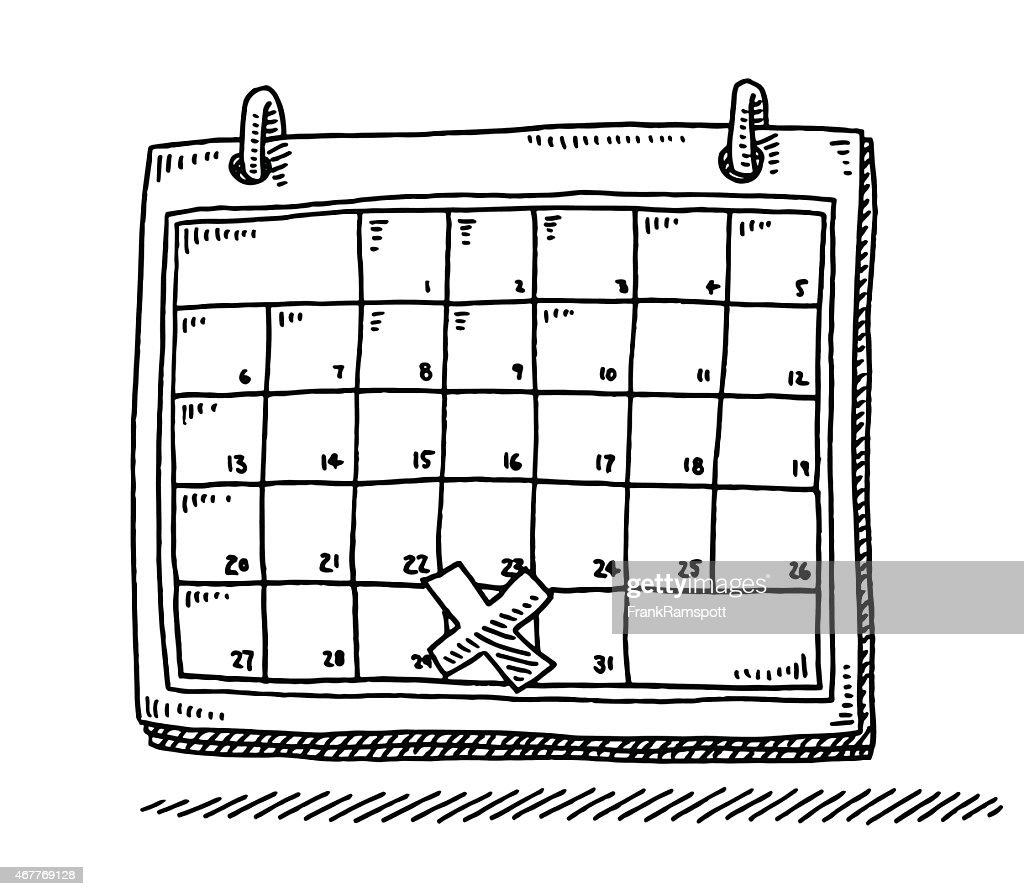 Calendar Method With Illustration : Monthly calendar appointment cross drawing vector art