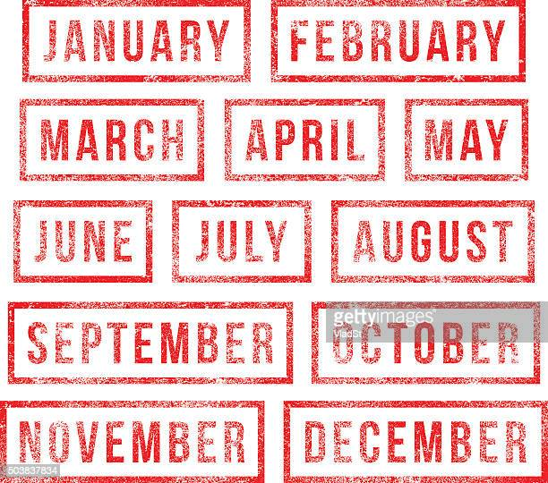 Months of the year - rubber stamps
