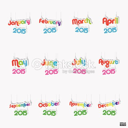 12 Months Of Year 2015 Paper Hanging Signeps10 Vector ...