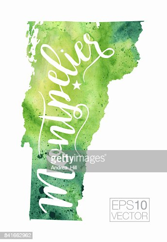 Burlington Vermont Usa Vector Watercolor Map Vector Art Getty Images - Map of usa vermont
