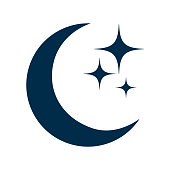 Moon and stars flat icon, isolated sign – stock vector