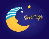 Vector cartoon illustration. A moon in a white and blue striped nightcap sleeping in the sky, a little star is awake and smiling. Dark blue background, yellow text 'Good night'. Horizontal format.