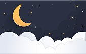 moon and stars in midnight .paper art style.Vector illustration EPS 10