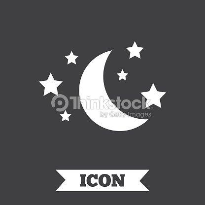 Moon And Stars Sign Icon Sleep Dreams Symbol Vector Art Thinkstock