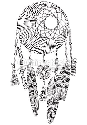 Moon Dreamcatcher With Feathers And Branches Doodle Style Black White Hand Drawn Adult Coloring Book Page Cozy Dream Catcher
