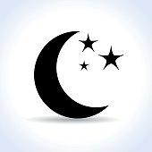 Illustration of moon icon on white background