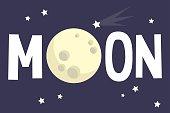 Full moon conceptual illustration / Flat vector editable sign