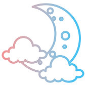 moon night with clouds vector illustration design