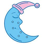 moon night with sleeping hat character vector illustration design