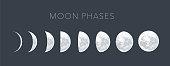moon phases dot vector background, lunar phases