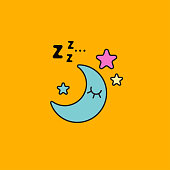 Moon sleeping in sky with sound of z. Icon good night, restful sleep. Insomnia cure. Cartoon moon snoring. Vector illustration