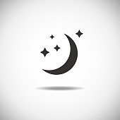 Moon vector icon on white background