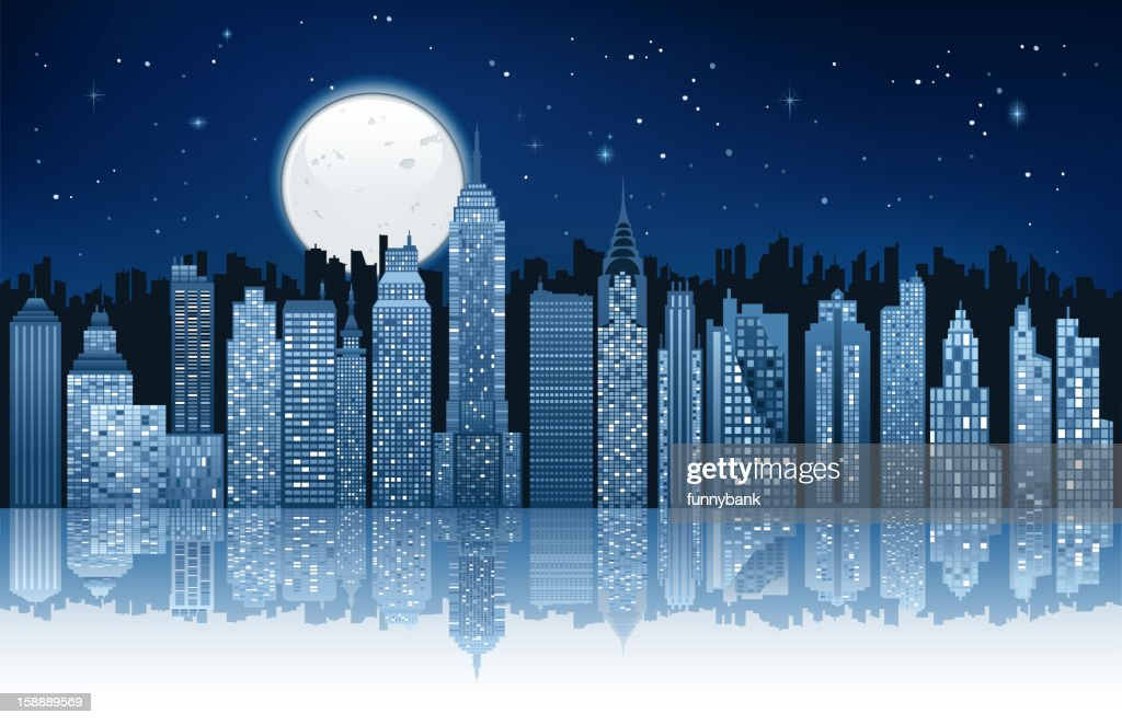 moonlight in new york city : Vektorgrafik