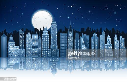 Mondlicht in new york city : Vektorgrafik